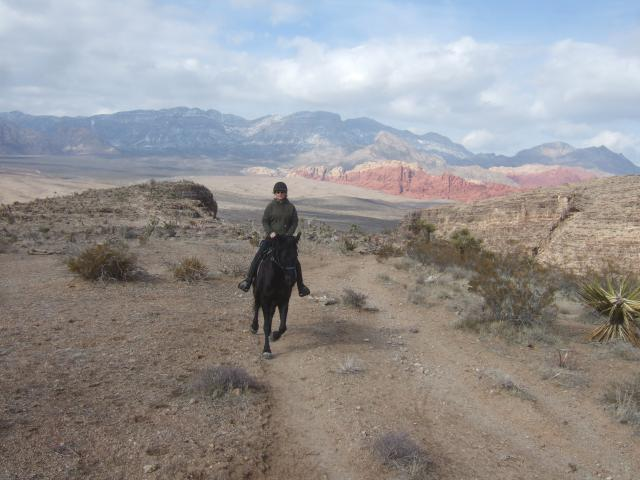 HCP Asa Stephens on Sirocco riding outside of Las Vegas, NV