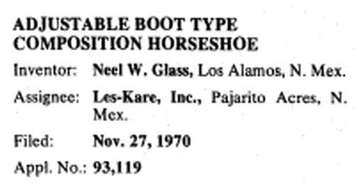 Neel Glass Hoof Boot Patent