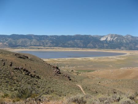 Looking down on Washoe Lake